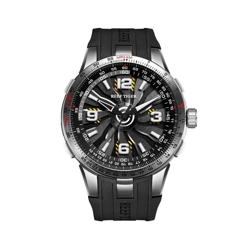 Reef Tiger Aurora Serier RGA3059 Men Fashion Sport Flight Dashboard Rotation Trubine Dial Automatic Mechanical Wrist Watch