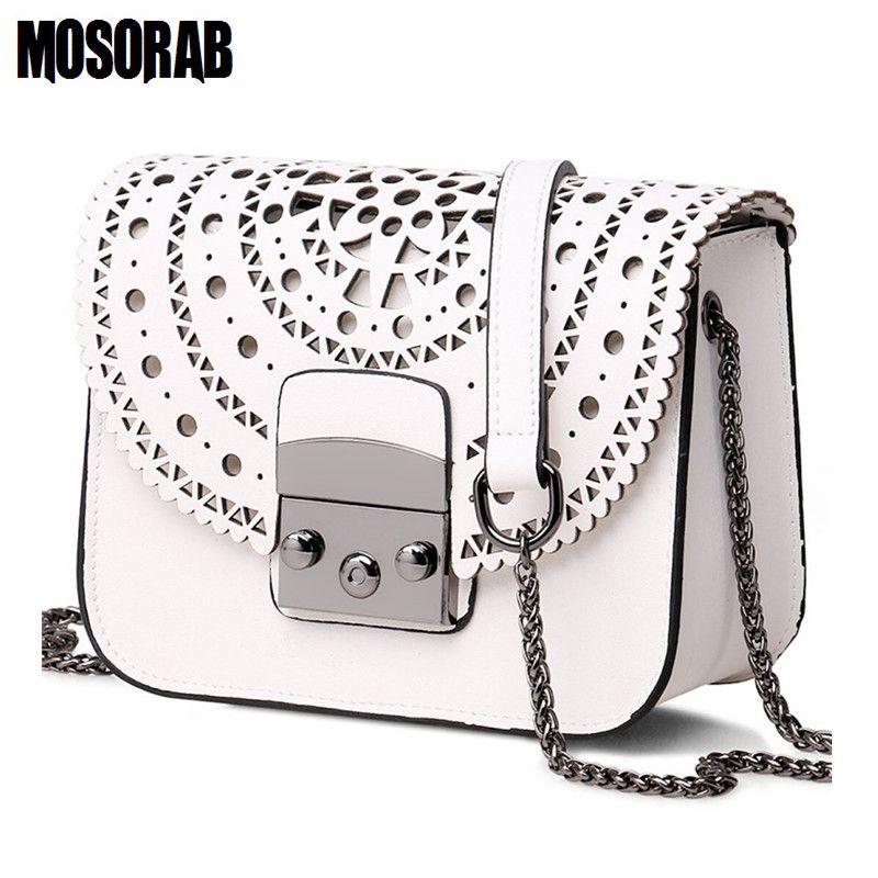 MOSORAB Fashion Women Small Bags <font><b>Hollow</b></font> Out Leather Women Crossbody Bag Famous Brand Ladies Messenger Shoulder Bag Clutch Purse