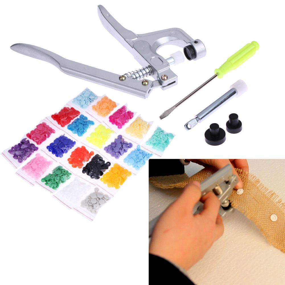 T5 Plastic Resin Snap Button Installation Tool Sihetun Buckle <font><b>Hand</b></font> Pressure Clamp 300Pcs Plastic Buckle Button Sewing Tool Set