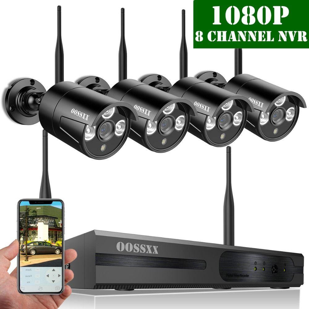 OOSSXX 8CH 1080P Wireless NVR Kit Wireless CCTV Camera System 2.0MP Indoor Outdoor IP66 IP Camera P2P Video Surveillance System