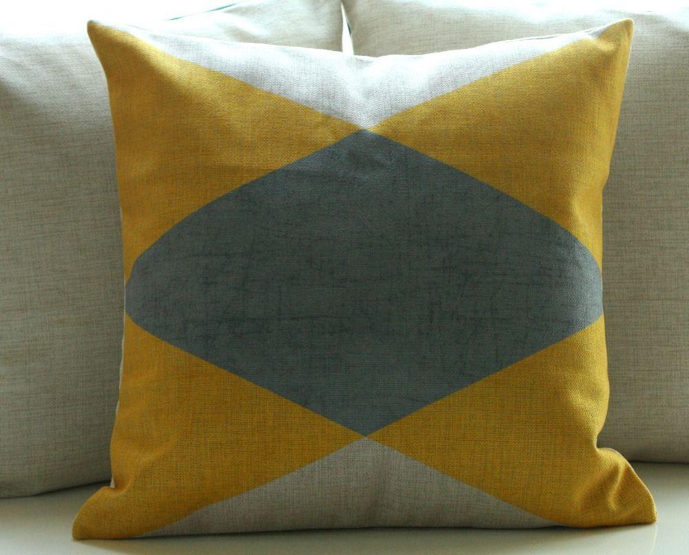 Großhandel Vintage Baumwolle Leinen Kissenbezug Kissenbezug Home Decor Geometrische Dreieck Gelb Grau 45x45 cm 18 inch