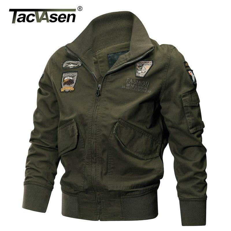TACVASEN Military Jacket Men Winter Cotton Jacket Coat Army Pilot Jackets Air Force Cargo Coat Spring Slim type TD-QZQQ-005
