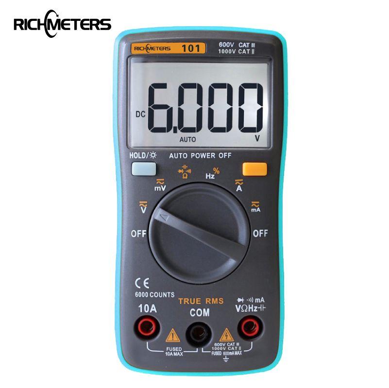 RM101 multimètre numérique 6000 compte rétro-éclairage AC/DC ampèremètre voltmètre Ohm compteur de tension Portable richmetres 098/100/109/111