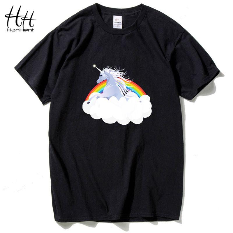 HanHent 2018 nouveauté haut à la mode t-shirt pour hommes 3d licorne imprimé t-shirt homme chaud hip hop cheval t-shirt homme camisetas