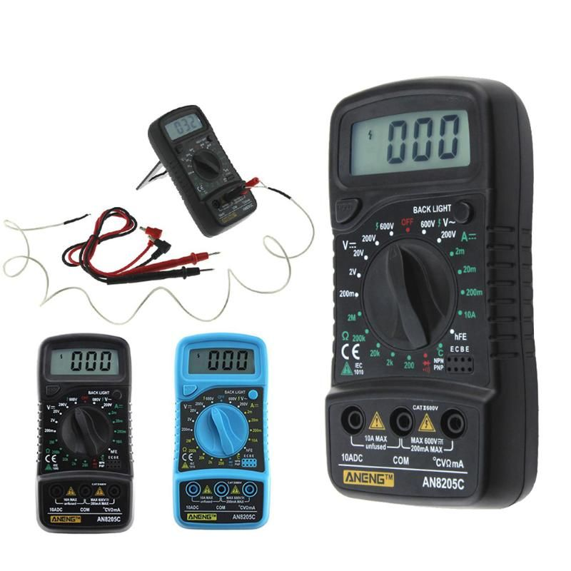 AN8205C Thermometry Digital Multimeter Ammeter Voltmeter AC DC OHM Volt Test Temperature Gauge Tester for Electrical