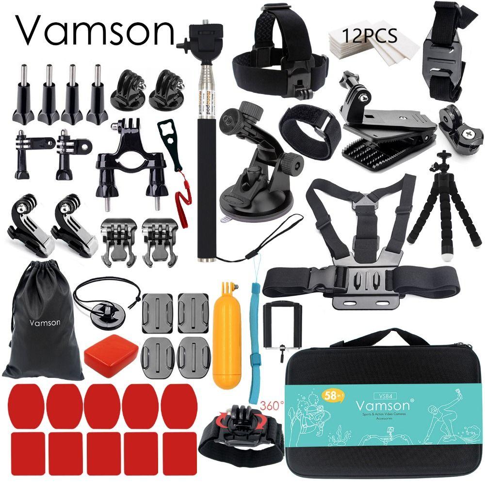 Vamson pour Gopro Accessoires set pour go pro hero 6 5 4 3 kit montage pour SJCAM pour SJ4000/pour xiaomi pour yi 4 k pour eken h9 VS84