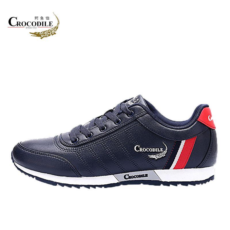 Crocodile Men Athletic Run Sneaker Jogging Leather Footwear For Men's Breath Flat Sport Shoes off Black Male Light Walking Shoes