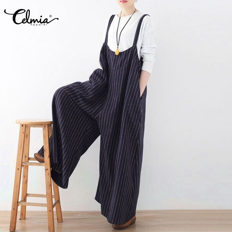 Celmia Women Jumpsuit 2018 Summer <font><b>Vertical</b></font> Striped Long Playsuit Sexy Backless Rompers Casual Loose Oversized Overalls Plus Size
