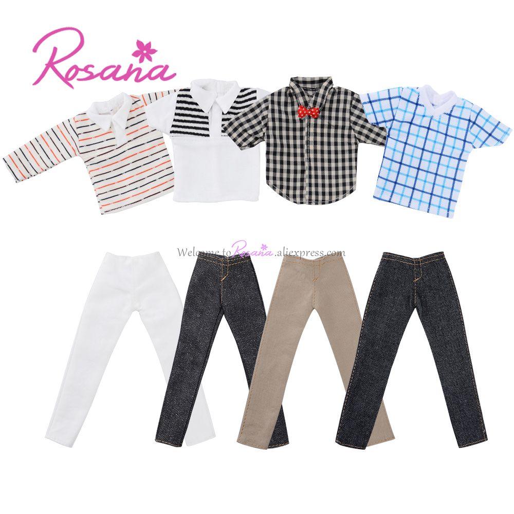 4 Sets Moda Camisa de Estampado de Rayas Pantalones Para Barbie Novio Ken Dool Muñecas Accesorios Hechos A Mano del Verano Cool Casual Traje