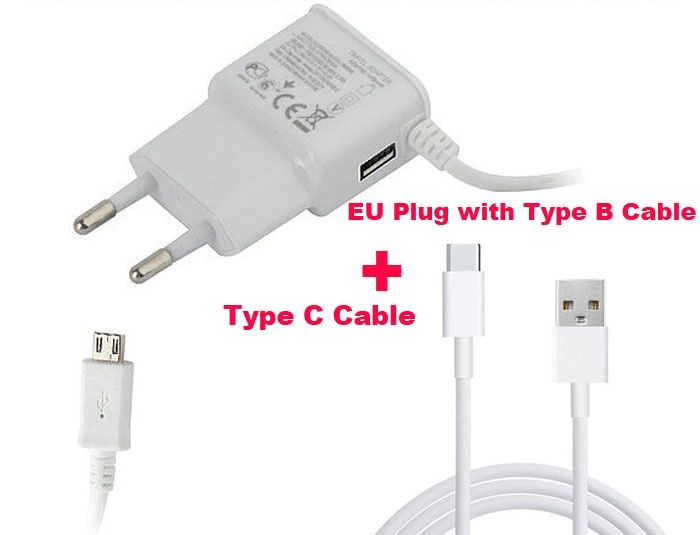 Wall Type B USB Mobile Phone Charger 2A+Type C USB Cable For Nokia N1, Lumia 950/950 XL,LeEco Le Pro 3 AI Edition,Oneplus 5