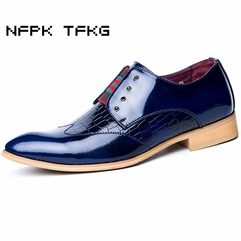 mens casual business wedding party cow patent leather shoes slip-on driving oxfords shoe pointed toe breathable loafers zapatos