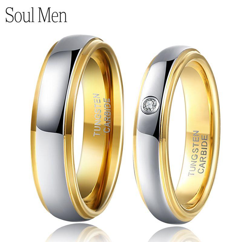 1 paire argent & or couleur tungstène Couple mariage bagues de fiançailles ensemble 6mm pour lui 4mm pour elle avec CZ pierre anel masculino