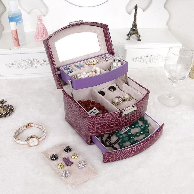 JULY'S SONG Jewelry Storage Box Fashion Double Layer PU Leather Earring Jewelry Organizer Box Display Best Gift for <font><b>Lover</b></font> Friend