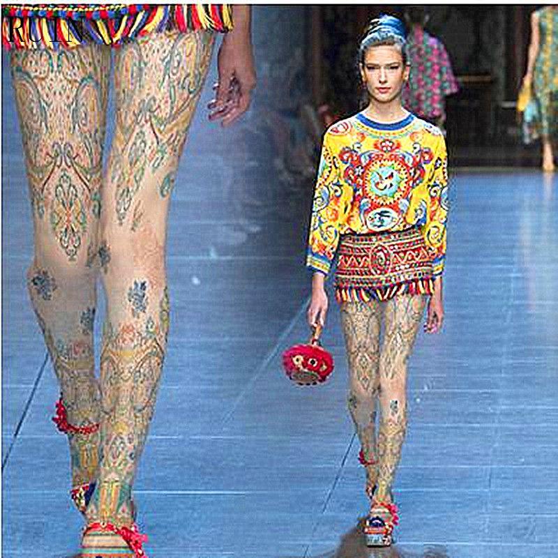 Ruine femmes collants imprimer collants femme fille collants 140DFashion rétro motif peint à la main style national