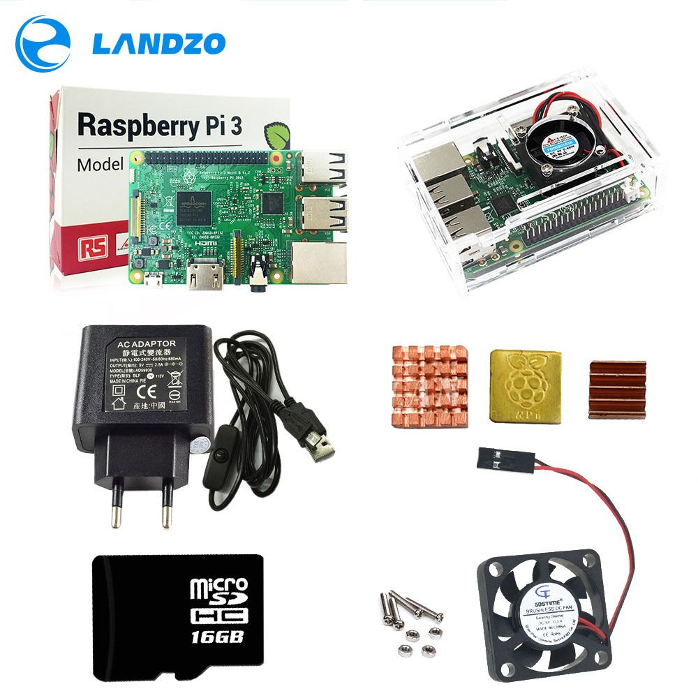 BPI3 KIT Raspberry Pi 3+ABS Case with fan +16GB SD Card+3pcs Heat Sink+5V 2.5A Power adapter with switch cable for pi 3