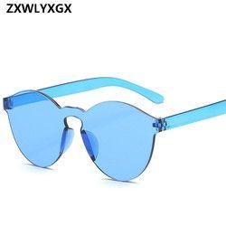 2018 nuevas mujeres de la moda planas Gafas de sol diseñador de marca de lujo Sol gafas color caramelo del espejo UV400 oculos de sol