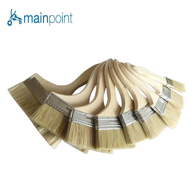 Mainpoint 9 Stücke Borstenhaar Wand Pinsel Holzgriff Öl Zeichnung Sweep Pinsel Manuelle Reinigung Künstler Malerei Sets Werkzeuge