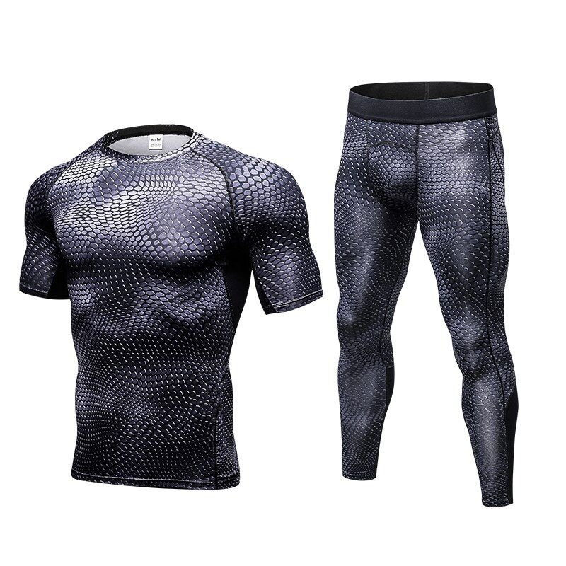 High Elastic Mens Sports Suits BodyBuilding Snake Short Shirts And Pants Running Set Men Gym Clothing Quick Dry Men's Sportswear