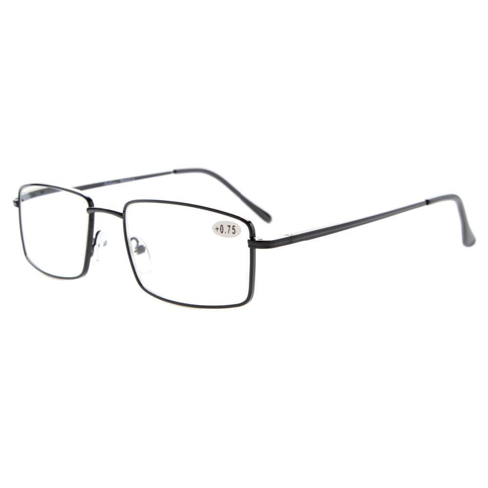 Readers Rectangular Spring Temple Large Metal Reading Glasses +0.50---+4.00 KH401-417