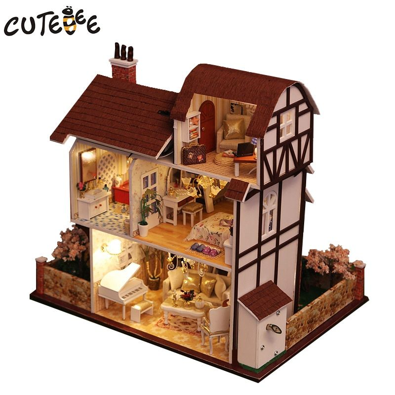 CUTEBEE Doll House Miniature DIY Dollhouse With Furnitures Wooden House perfect conjugal  Toys For Children Birthday Gift K013