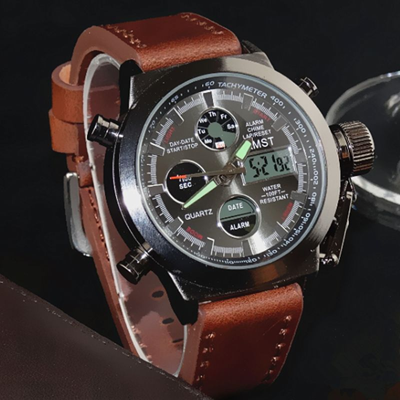 AMST <font><b>Military</b></font> Watches Dive 50M Nylon&Leather Strap LED Watches Men Top Brand Luxury Quartz Watch reloj hombre Relogio Masculino