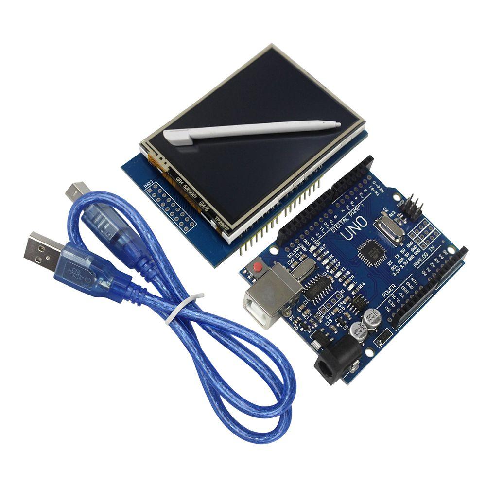 2.8 pouce TFT LCD Écran Tactile Module D'affichage + Uno R3 Conseil de Développement Compatible pour arduino IDE + USB Câble