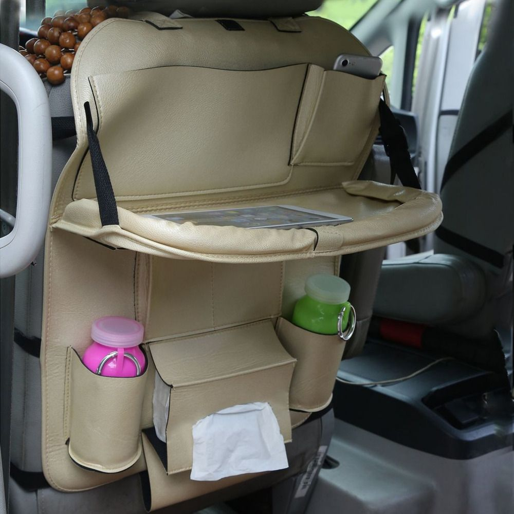 3 Colors Car Back Seat Storage Bag Folding Car Seat Organizer Leather Bottle Holder Tissue Box Magazine Cup Food Phone Pack