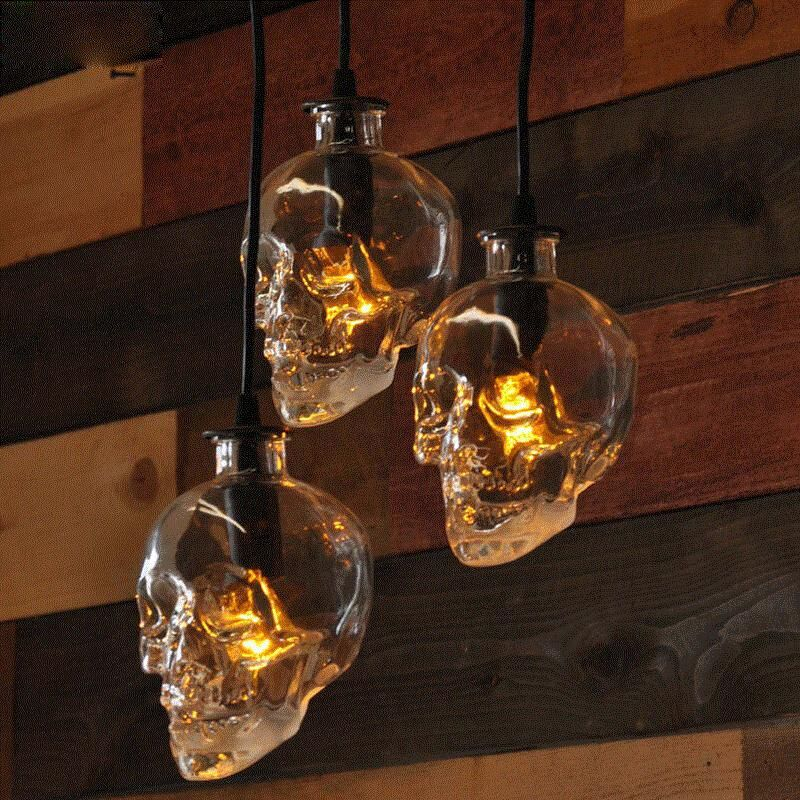 <font><b>vintage</b></font> Skull head glass pendant light hanging pendant lamps for art decoration edison pendant lights E14 bulb wholesale
