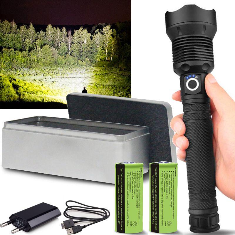 250000 lumens XHP70.2 lampe de poche LED le plus puissant usb Zoom torche LED tactique xhp50 XHP90.2 18650 ou 26650 batterie Rechargeable Garantie 2 ans - remplacement endommagé gratuitement