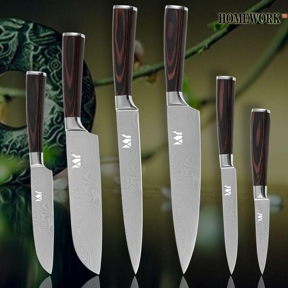 XYJ cuisine couteaux chef tranchage santoku utilitaire pariing damas veines acier inoxydable couteaux couleur bois poignée outils de cuisson