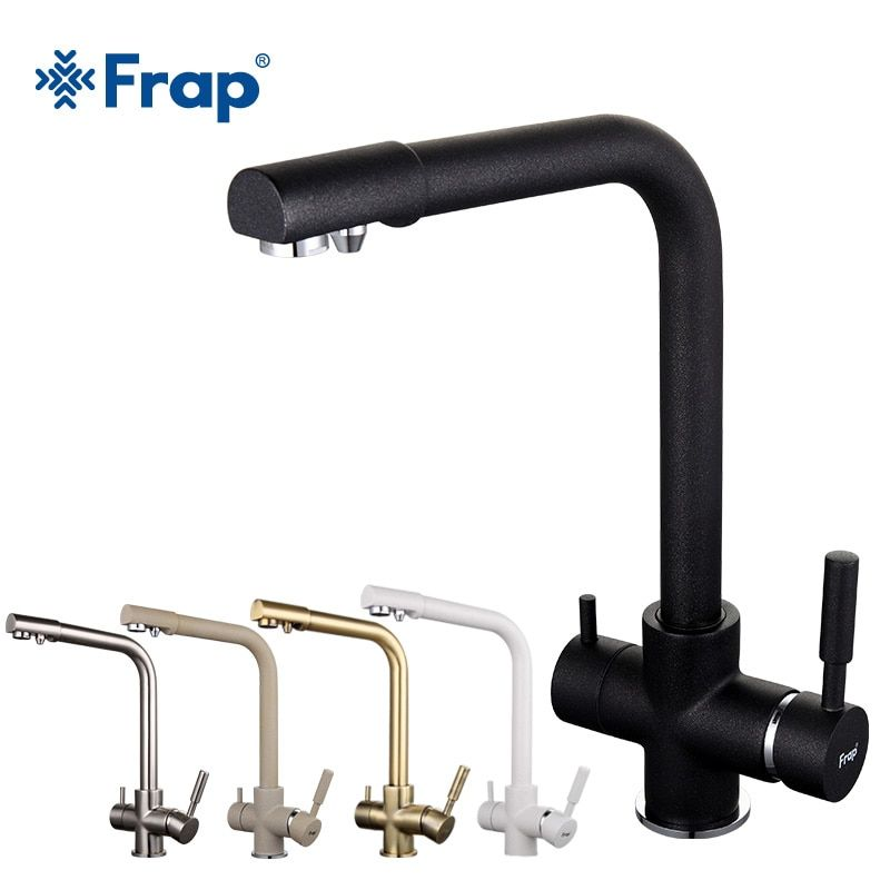 Frap New Black Kitchen sink Faucet mixer Seven Letter Design 360 Degree Rotation Water Purification tap Dual Handle F4352 series