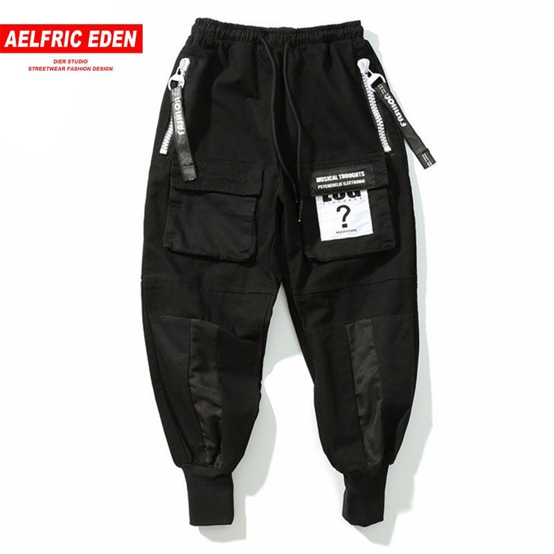 Aelfric Eden Cargo Pant Black Mens Joggers Pants Ribbon Hip Hop Sweat pants GD Winter Casual Pants Man Elastic Trousers PA181