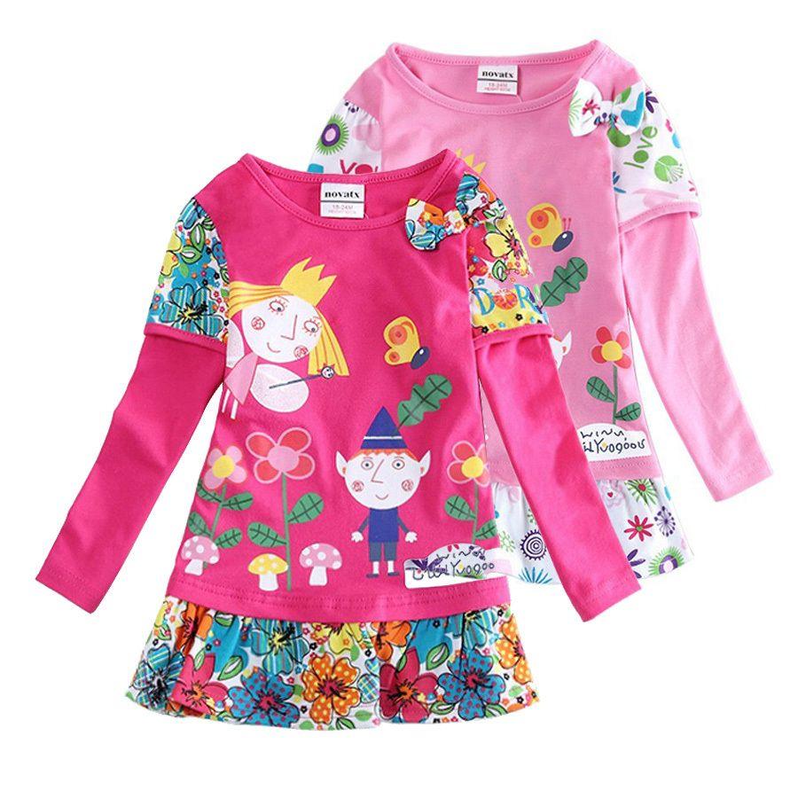 Хит продаж, платье для девочек Nova одежда для малышей Бен и Холли Длинные рукава с цветочным рисунком Vestidos Детские Вечерние Повседневные пла...