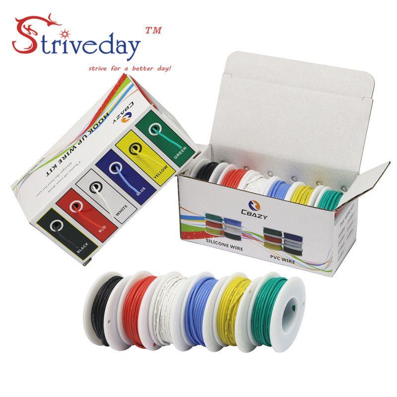 30/28/26/24/22/20/18awg câble souple en Silicone 6 couleurs mélange paquet fil électrique ligne de cuivre bricolage