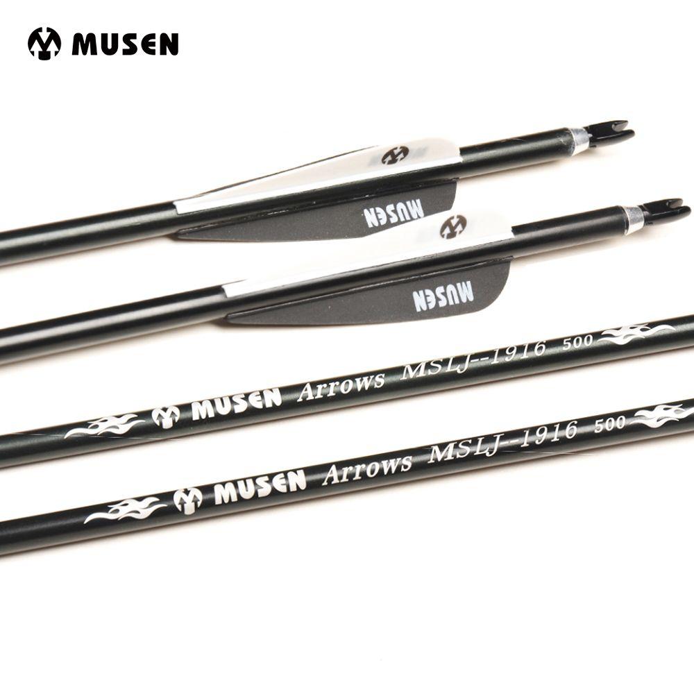 30 дюйм(ов) позвоночника 500 алюминий стрелы ОД 7.6 мм стрельба из лука Охота стрелки для изогнутый стрельба из лука Луки упакованы в 6 /12/24 шт.