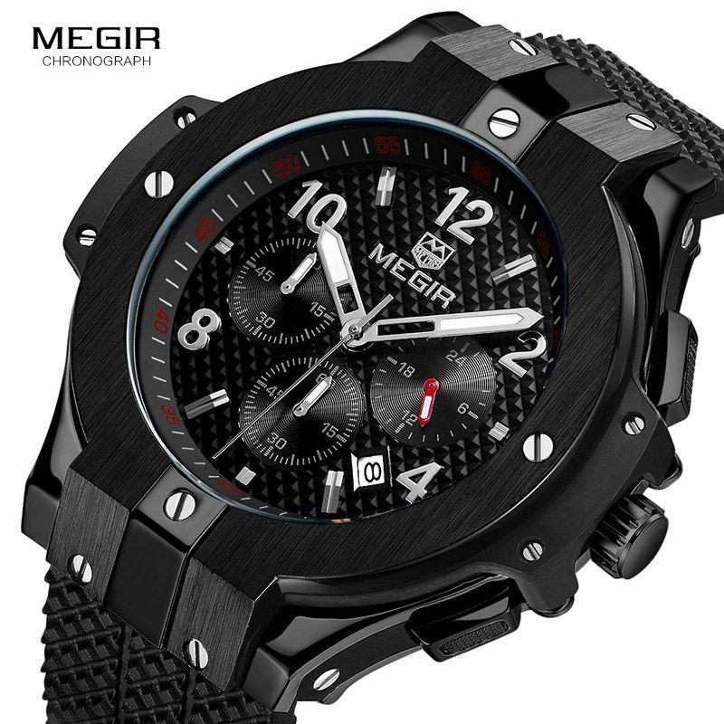 Megir Chronograph Top Luxury Brand Sport Watches Men's Fashion Business Quartz Wrist Watch Waterproof Male Clock Man Wristwatch