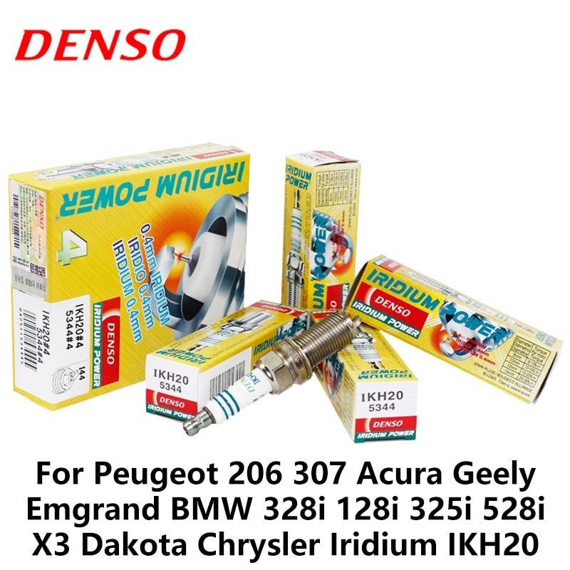 4pieces/set DENSO Car Spark Plug For Peugeot 206 Acura Geely Emgrand BMW 328i 128i 325i 528i X3 Dakota Chrysler Iridium IKH20