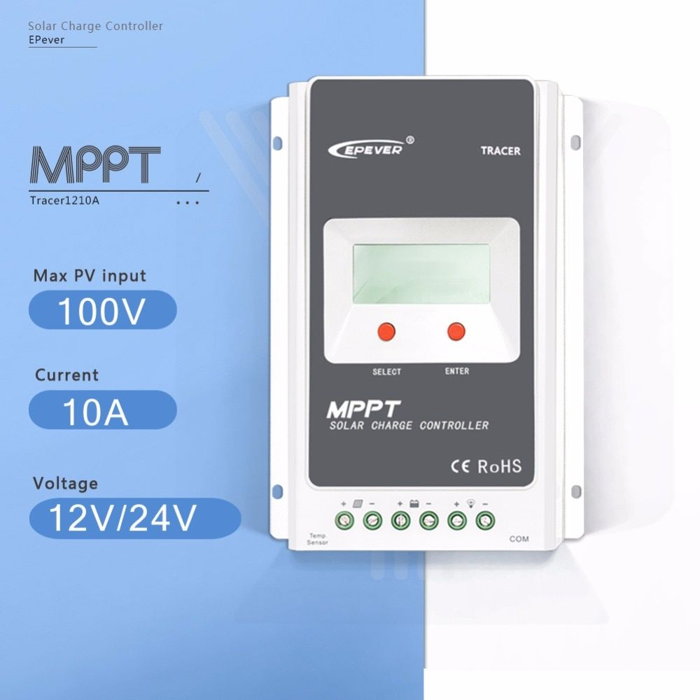 MPPT 10A Tracer 1210AN Solar Charge Controller 12V/24V Auto Solar Panel Battery Charge System Regulator with Big LCD Display