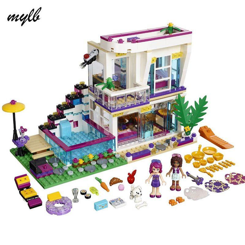 Mylb Amis Série de Livi Pop Star Maison Building Blocks Andrea mini-poupée chiffres Jouet Compatible Avec Des Amis tomber gratuite