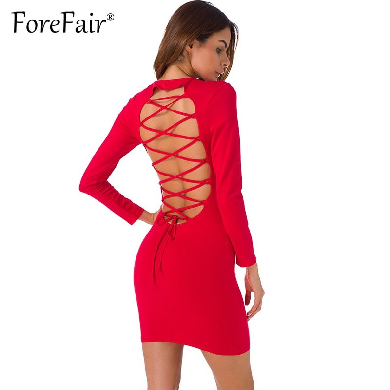 Forefair Sexy Backless <font><b>Cross</b></font> Lace Up Dress For Women Night Clubwear Party Dresses 2017 Autumn Long Sleeve Slim Bodycon Dress