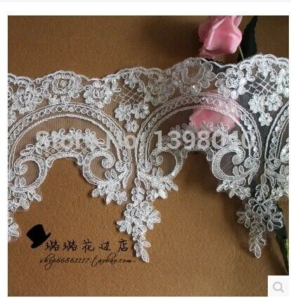 2014 new Applique lace accessories sequins Ruffles ivory white lacework for wedding dress DIY accessories