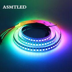 DC5V WS2812B 30/60/144 leds/m Smartled pixel RVB individuellement adressable led bande lumière Noir/blanc PCB IC WS2812 pixel bandes