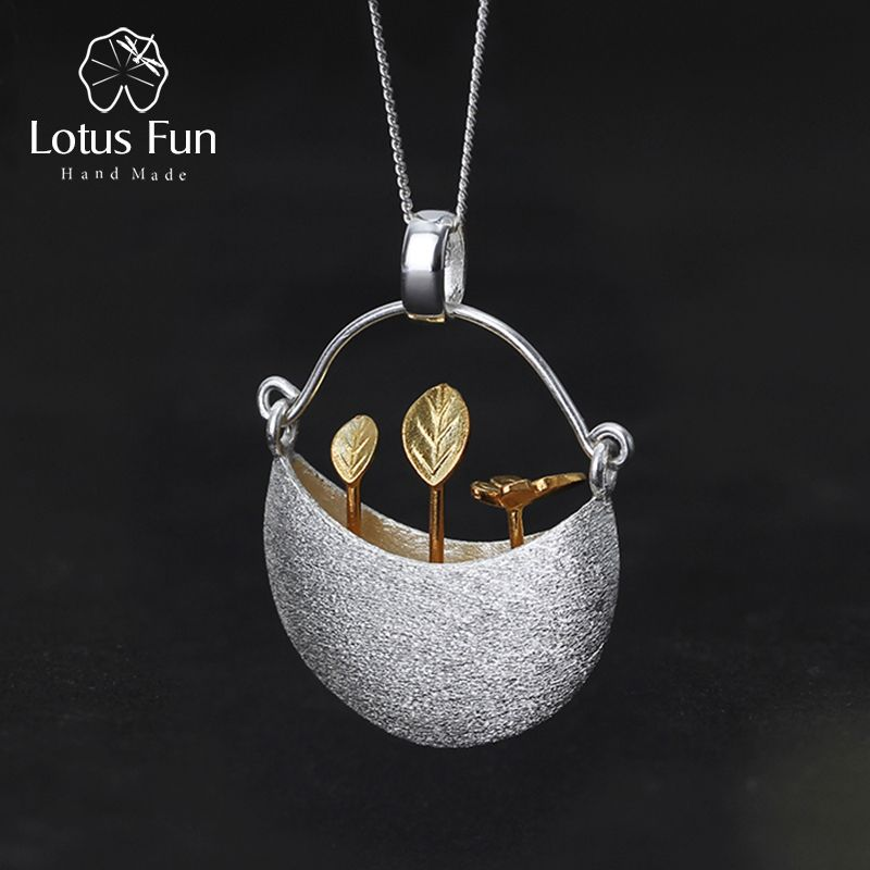 Lotus Fun Real 925 Sterling Silver Handmade Fine Jewelry My Little <font><b>Garden</b></font> Design Pendant without Necklace for Women Acessorios