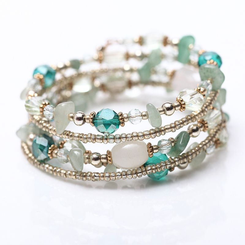 2017 Diseño de La Vendimia de Múltiples Capas de Moda Perlas de Cristal blanco Azul Claro Granos de la Pulsera y Brazaletes de La Joyería Para Las Mujeres Pulseras mujer