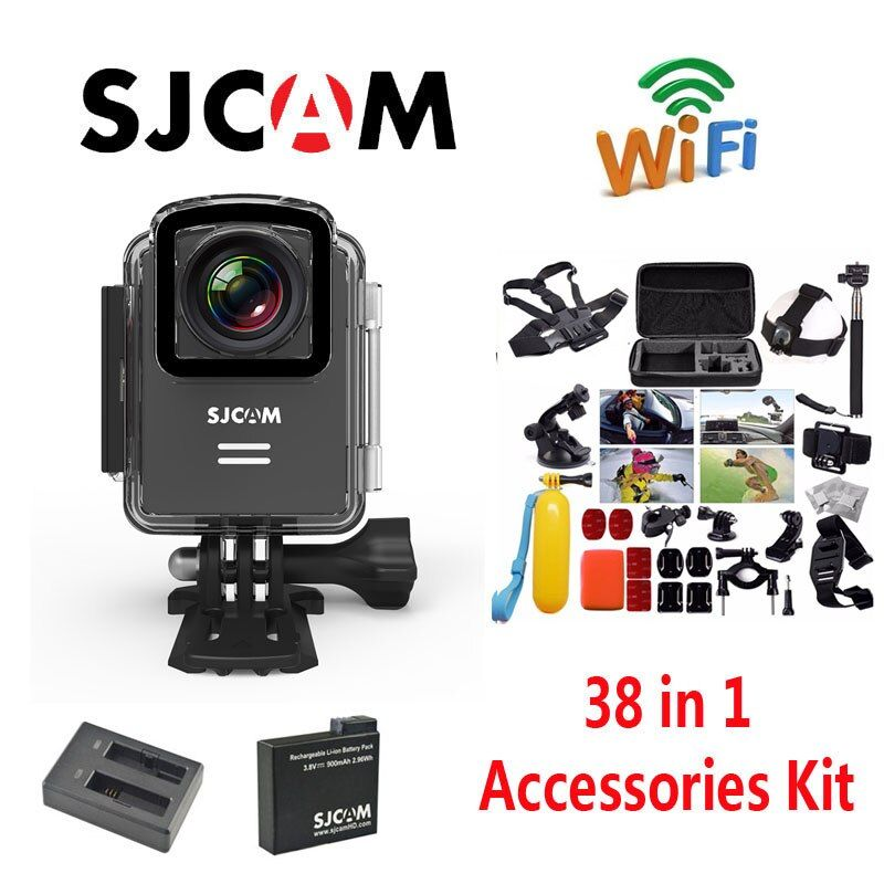 Original SJCAM M20 Wifi Waterproof Sports Action Camera+Battery Charger+Extra 1pcs Battery+38Pcs Accessories Kit