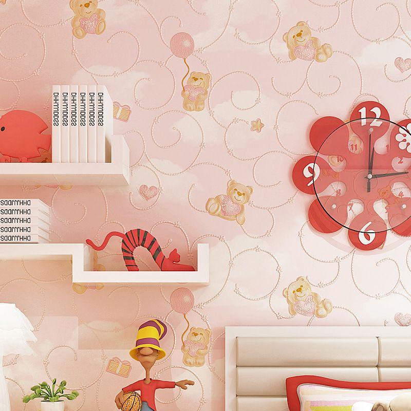 beibehang Cartoon children room Bear relief wallpaper boy girl bedroom background Non-woven green wallpaper papel de parede