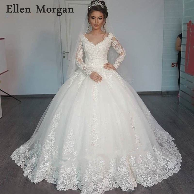 Vintage Long Sleeves Lace Ball Gowns Wedding Dresses 2018 Elegant Custom Made Online Shop Zipper Beaded Puffy Bridal Gowns