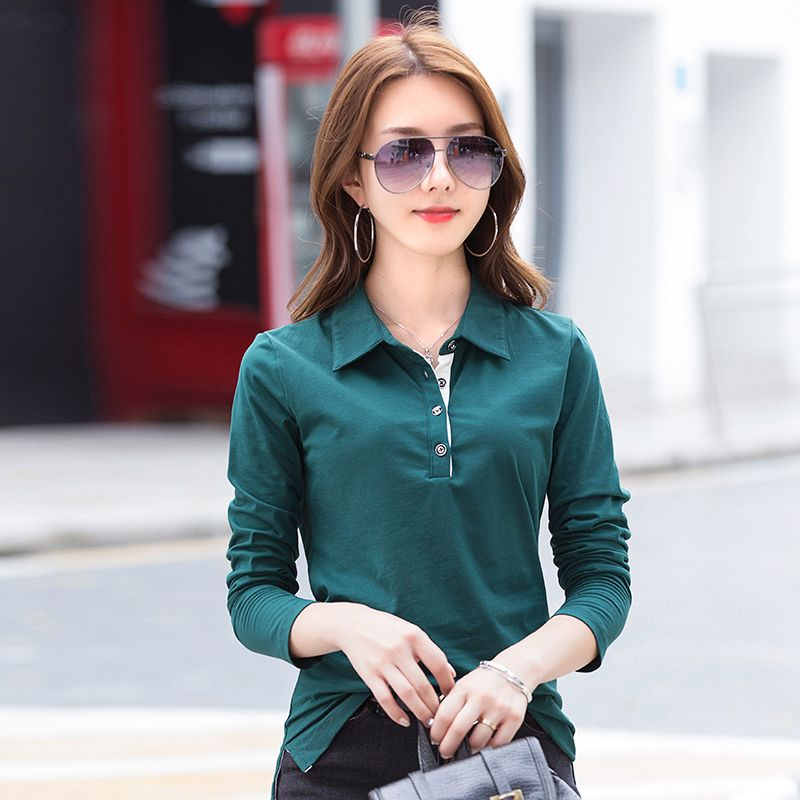 Woman Polo Shirts  New Commuting Cotton Long Sleeve 4 Buttons On it Drop Shipping