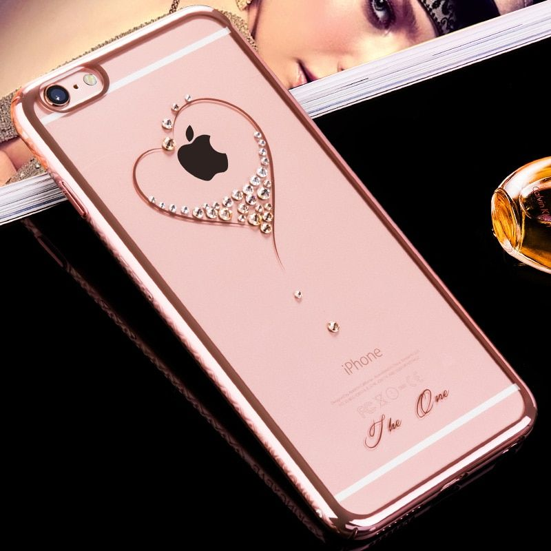 KINGXBAR for iPhone 6s 6 Plus Case Crystals from Swarovski Diamond Jewelled Flower Hard Transparent Case for iPhone 6 6s Cover