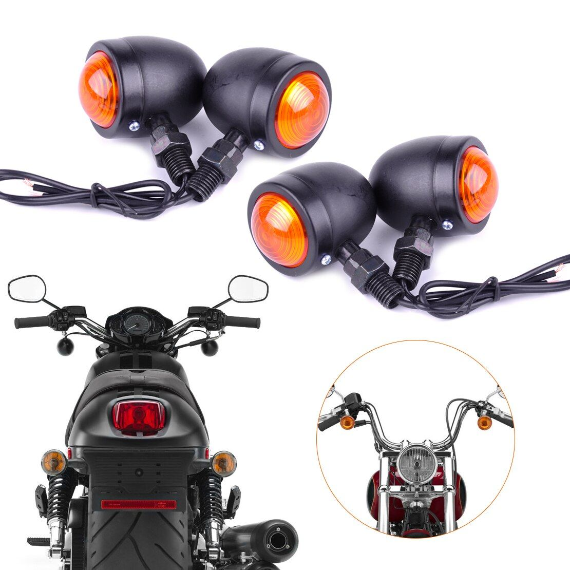 DWCX Motorrad 4x12 V Kugel Blinker Leuchtmelder Lampe Fit für Harley Bobber Chopper Yamaha Suzuki Kawasaki Dirt Bike